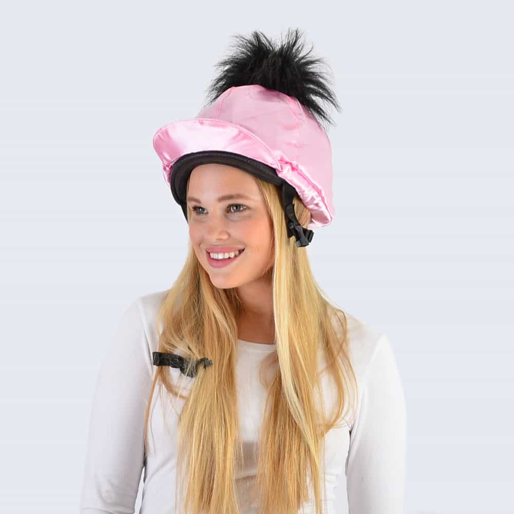 Candy Pink Hat Silk with Black Faux Fur Pom Pom