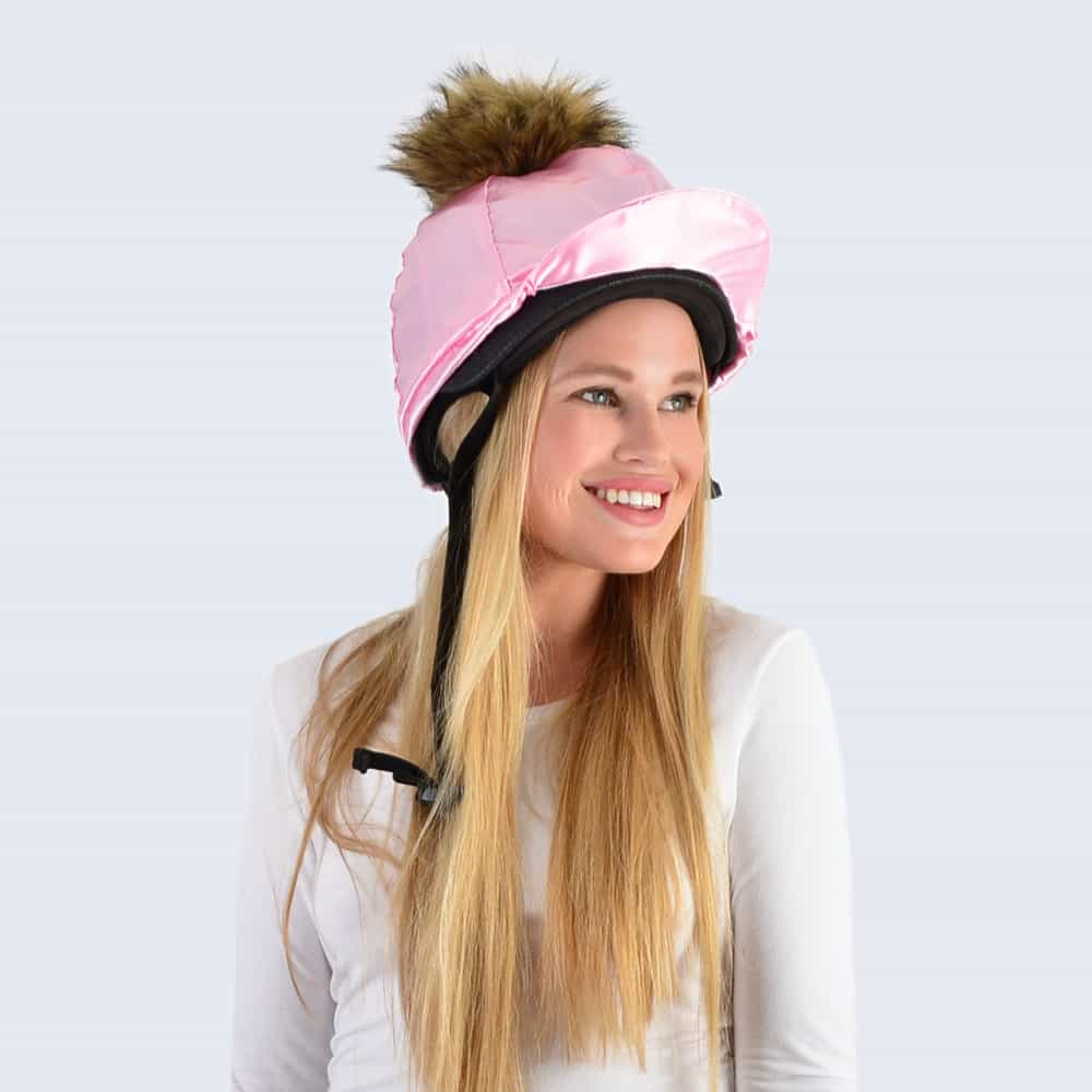 Candy Pink Hat Silk with Brown Faux Fur Pom Pom