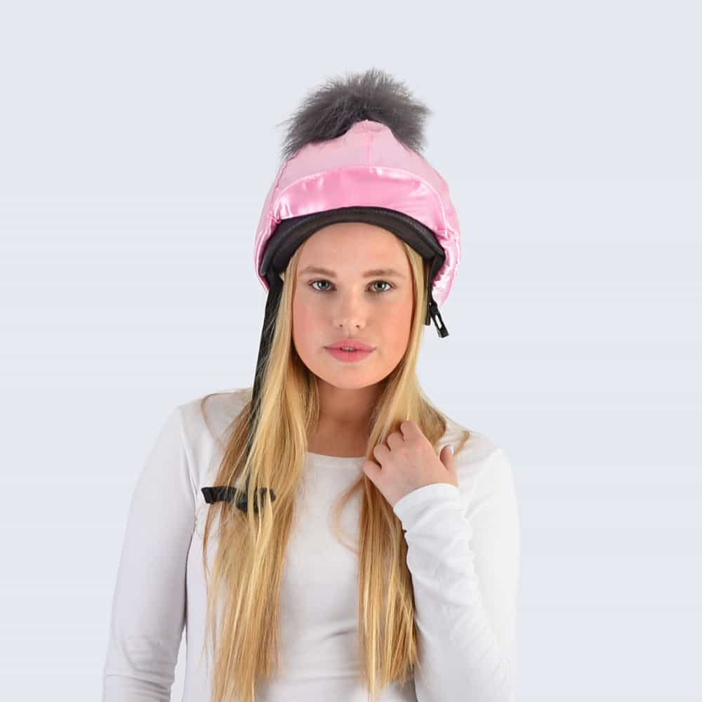 Candy Pink Hat Silk with Grey Faux Fur Pom Pom