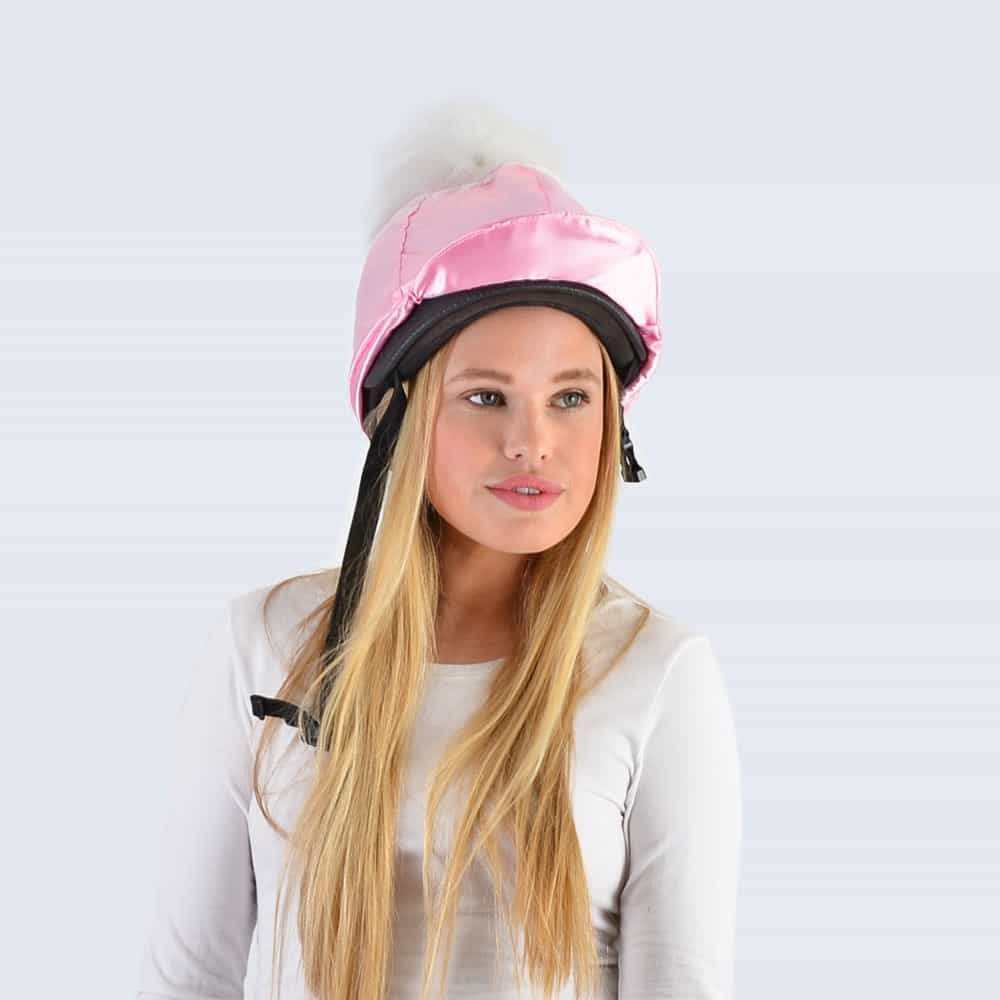 Candy Pink Hat Silk with White Faux Fur Pom Pom