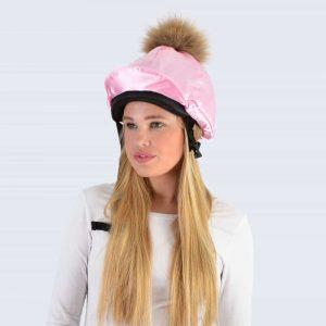 Candy Pink Hat Silk with Brown Fur Pom Pom