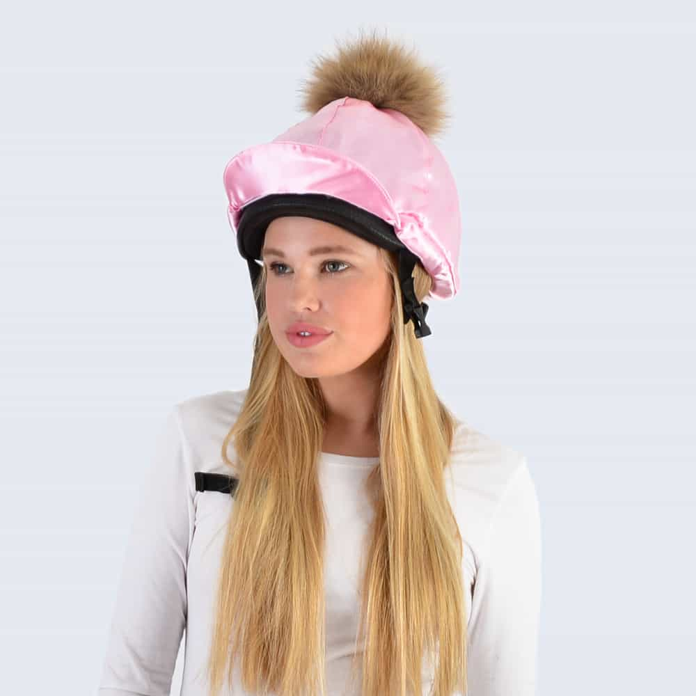 Candy Pink Hat Silk with Brown Fur Pom Pom