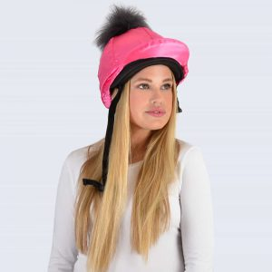 Fuchsia Hat Silk with Grey Faux Fur Pom Pom
