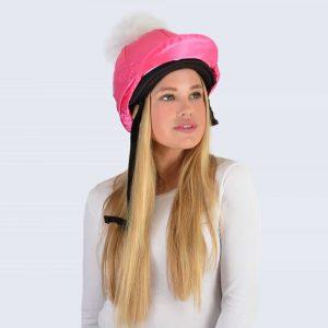 Fuchsia Hat Silk with White Faux Fur Pom Pom