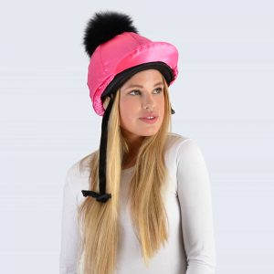 Fuchsia Hat Silk with Black Fur Pom Pom