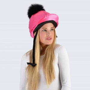 Fuchsia Hat Silk with Black Fur Pom Pom