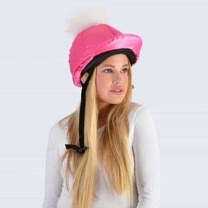 Fuchsia Hat Silk with White Fur Pom Pom