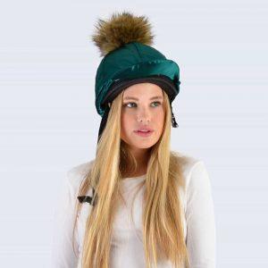 Emerald Hat Silk with Brown Faux Fur Pom Pom