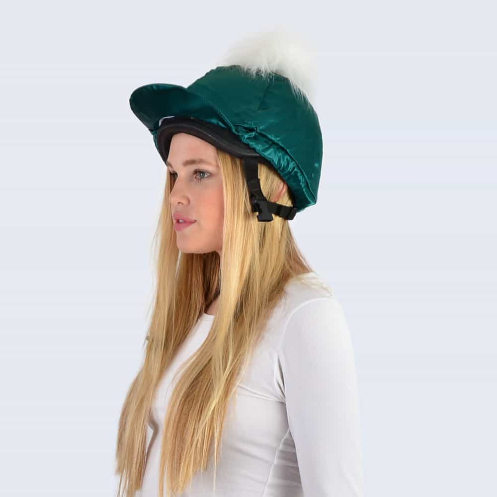 Emerald Hat Silk with White Faux Fur Pom Pom