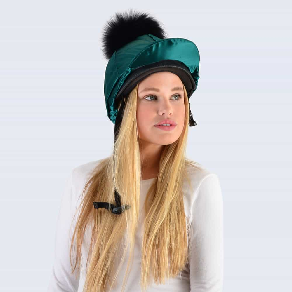 Emerald Hat Silk with Black Fur Pom Pom