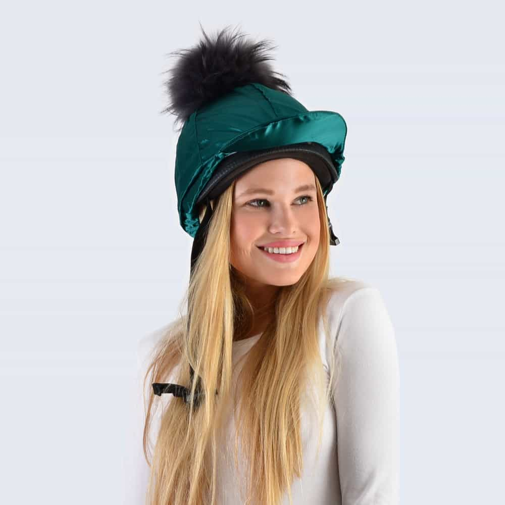 Emerald Hat Silk with Grey Fur Pom Pom