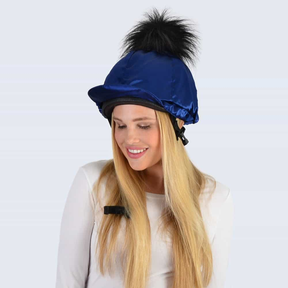 Navy Hat Silk with Black Faux Fur Pom Pom