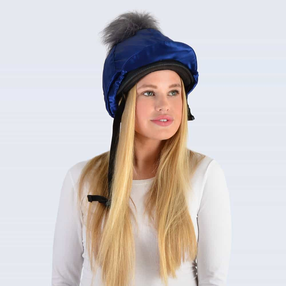 Navy Hat Silk with Grey Faux Fur Pom Pom