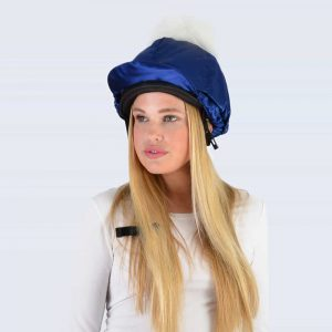 Navy Hat Silk with White Faux Fur Pom Pom