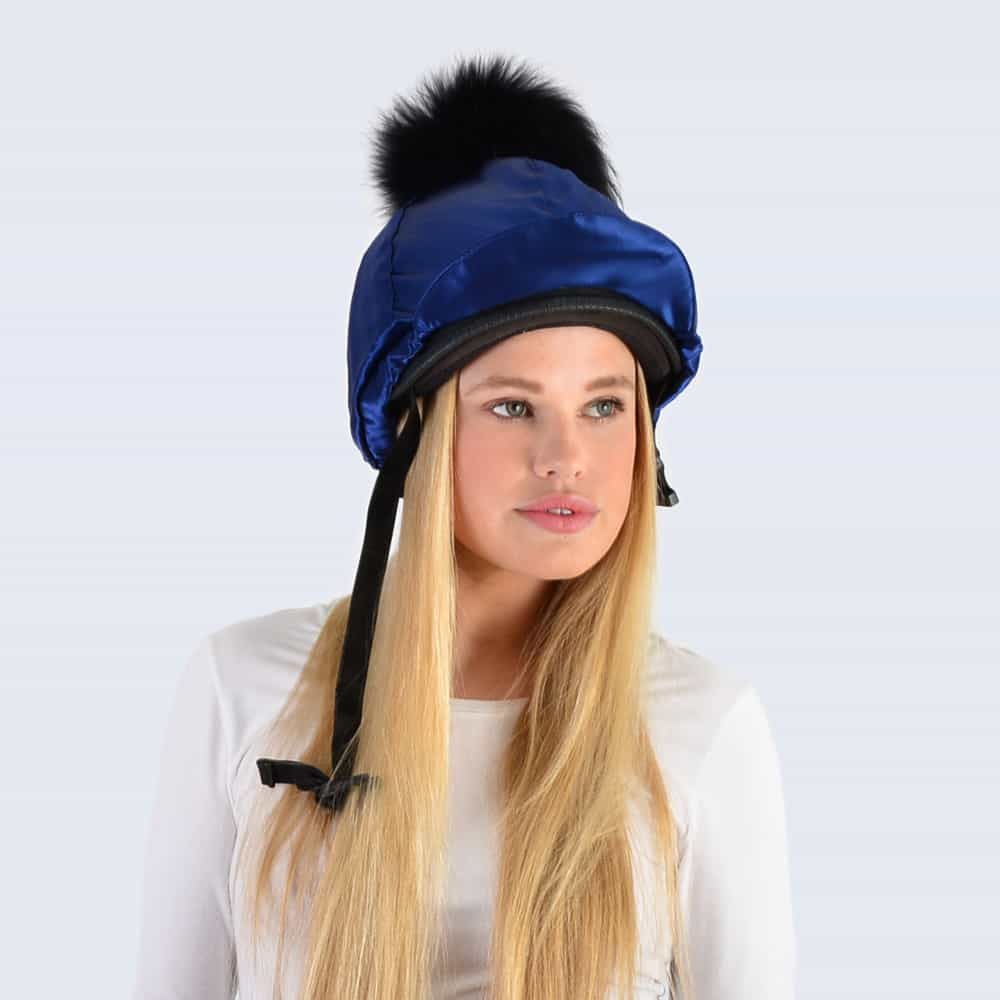 Navy Hat Silk with Black Fur Pom Pom