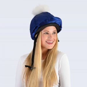 Navy Hat Silk with White Fur Pom Pom