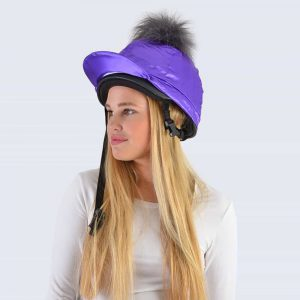 Purple Hat Silk with Grey Faux Fur Pom Pom