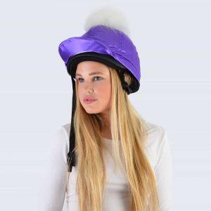 Purple Hat Silk with White Faux Fur Pom Pom