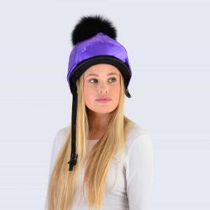 Purple Hat Silk with Black Fur Pom Pom