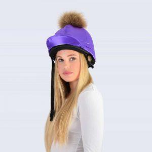 Purple Hat Silk with Brown Fur Pom Pom