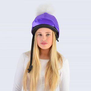 Purple Hat Silk with White Fur Pom Pom