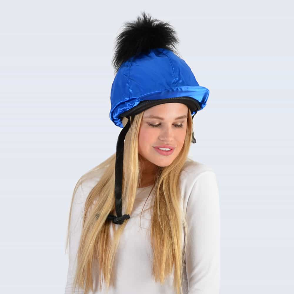 Royal Blue Hat Silk with Black Faux Fur Pom Pom