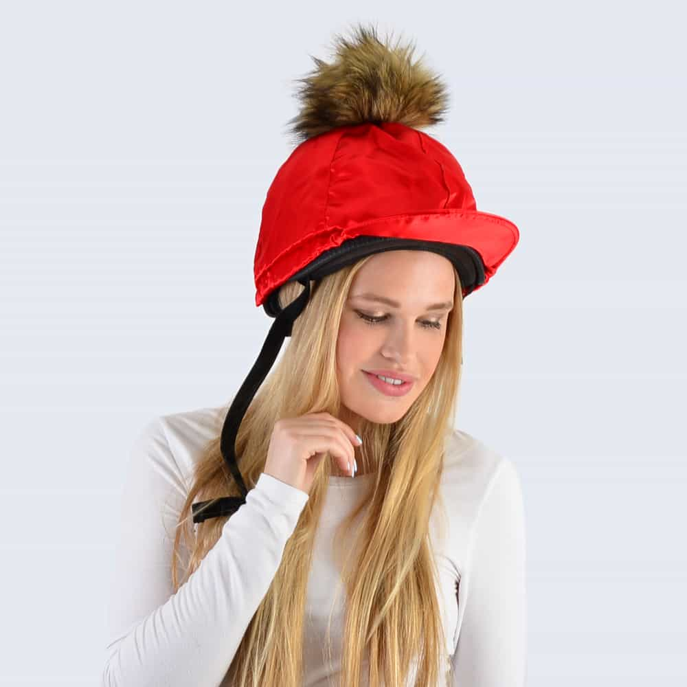 Scarlet Hat Silk with Brown Faux Fur Pom Pom
