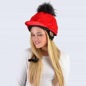 Scarlet Hat Silk with Grey Fur Pom Pom