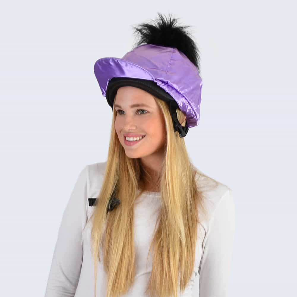 Lilac Hat Silk with Black Faux Fur Pom Pom