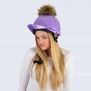 Lilac Hat Silk with Brown Faux Fur Pom Pom