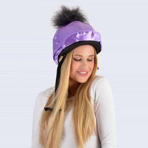 Lilac Hat Silk with Grey Faux Fur Pom Pom