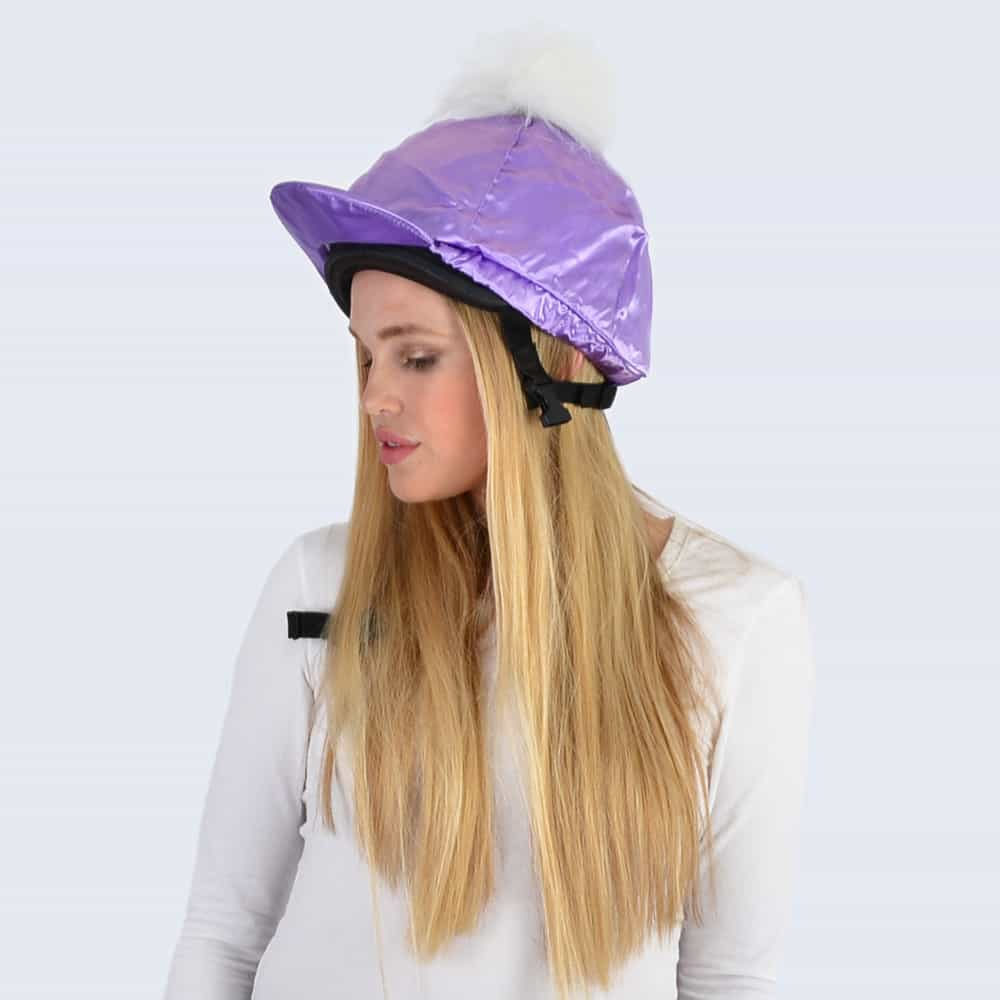Lilac Hat Silk with White Faux Fur Pom Pom