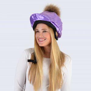 Lilac Hat Silk with Brown Fur Pom Pom