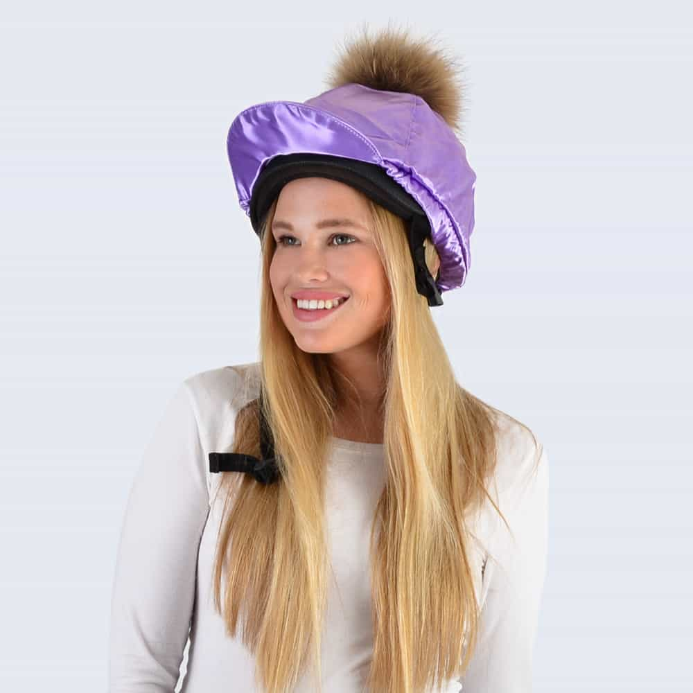 Lilac Hat Silk with Brown Fur Pom Pom