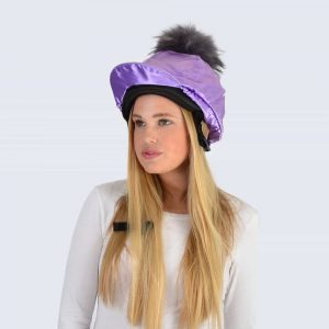 Lilac Hat Silk with Grey Fur Pom Pom