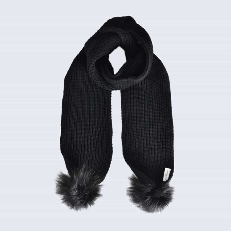 Black Scarf with Black Faux Fur Pom Poms