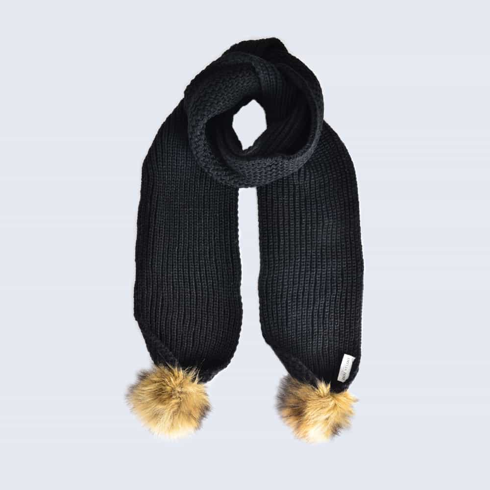 Black Scarf with Brown Faux Fur Pom Poms