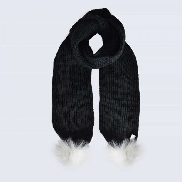 Black Scarf with White Faux Fur Pom Poms