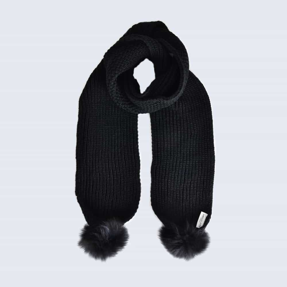 Black Scarf with Black Fur Pom Poms