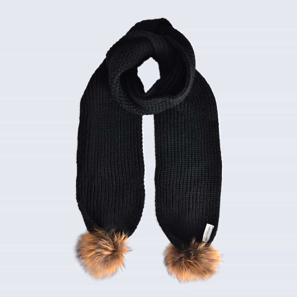 Black Scarf with Brown Fur Pom Poms