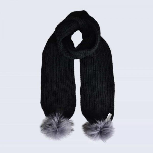 Black Scarf with Grey Fur Pom Poms