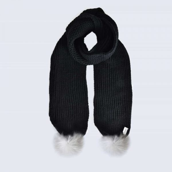 Black Scarf with White Fur Pom Poms