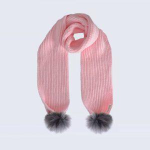 Candy Pink Scarf with Grey Faux Fur Pom Poms
