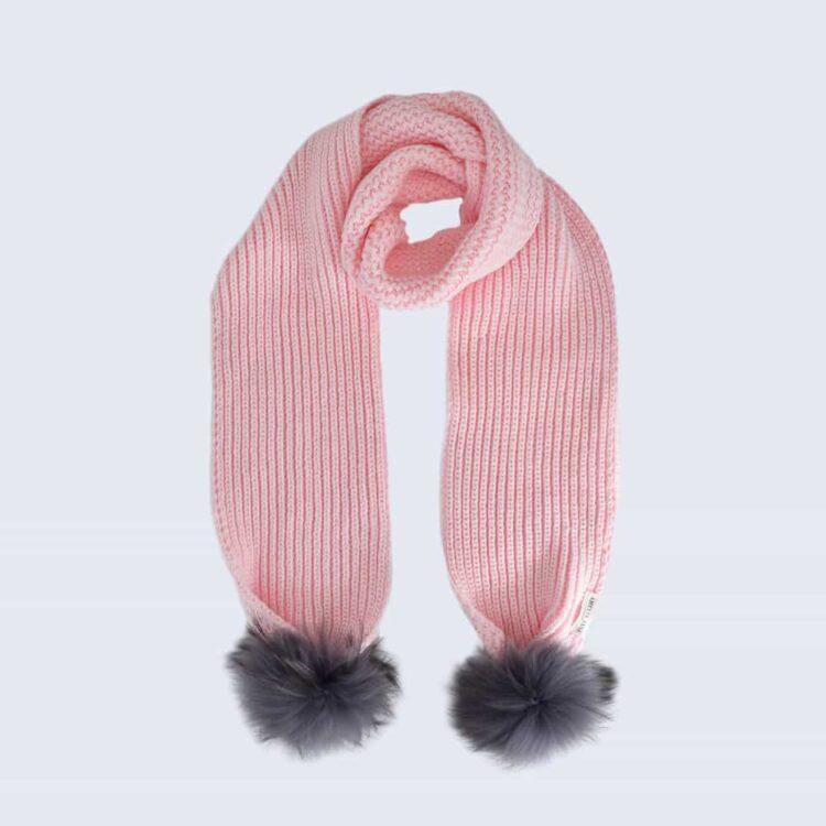 Candy Pink Scarf with Grey Fur Pom Poms