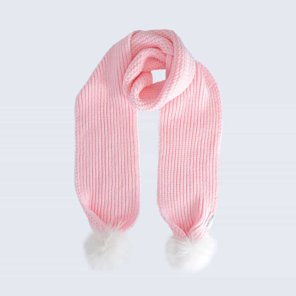 Candy Pink Scarf with White Fur Pom Poms