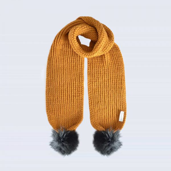 Caramel Scarf with Black Faux Fur Pom Poms