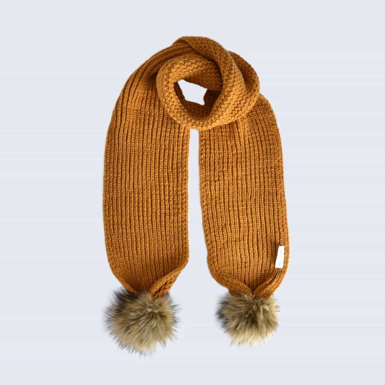 Caramel Scarf with Brown Faux Fur Pom Poms