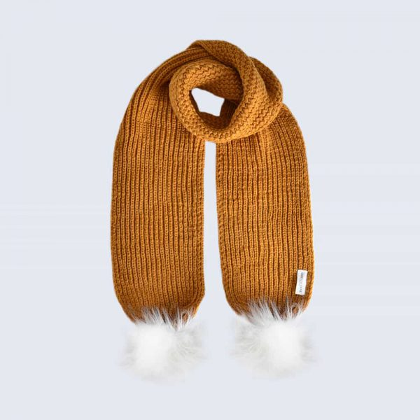 Caramel Scarf with White Faux Fur Pom Poms