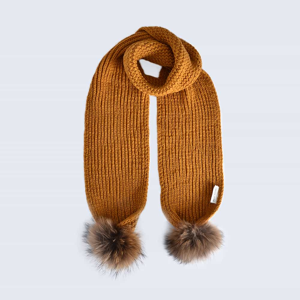 Caramel Scarf with Brown Fur Pom Poms