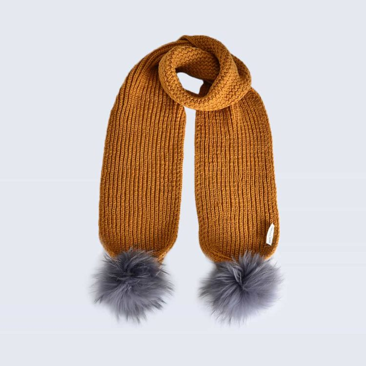 Caramel Scarf with Grey Fur Pom Poms